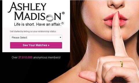 Ảnh chụp màn hình trang web ngoại tình AshleyMadison.