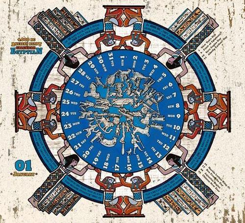 Lịch của người Ai Cập có 360 ngày thuộc 3 vụ mùa chính và 5 ngày cuối năm để làm lễ tôn vinh các vị thần.