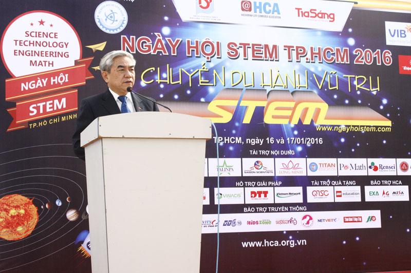Bộ trưởng Nguyễn Quân phát biểu tại Lễ Khai mạc ngày hội STEM Tp.HCM