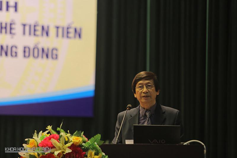 GS -TS Phạm Gia khánh - Chủ nhiệm chương trình KC.10 - phát biểu khai mạc hội nghị. Ảnh: Lê Loan