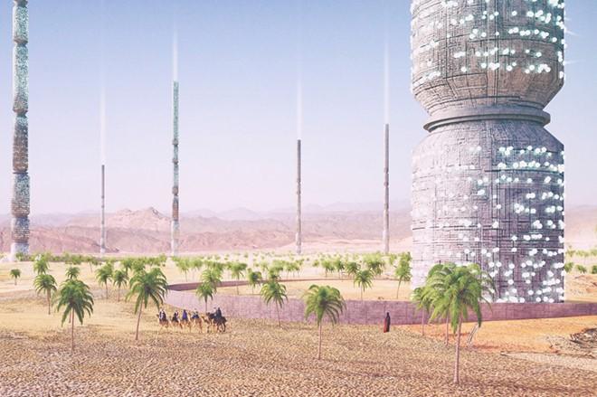 Khu tổ hợp Valley of the Giants giống như một ốc đảo nhân tạo trên sa mạc. Tại tòa nhà hình trụ thon thả này, người ta có thể trồng cây, thu thập và xử lý nước; và thụ phấn cho khu vực xung quanh.