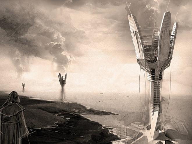 """Cao ốc Cloud Craft được thiết kế nhằm giúp giảm hạn hán với """"hạt giống mưa"""". Tòa nhà sẽ bơm các hóa chất an toàn với môi trường vào khí quyển và kích thích tạo mây."""