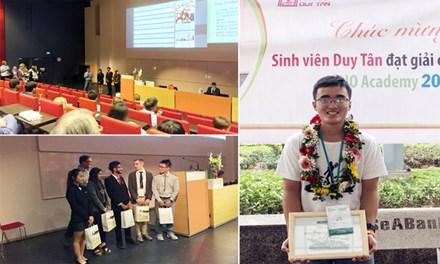 Sinh viên Tôn Thất Bình - ĐH Duy Tân thuyết trình chính và nhận giải cùng đội tuyển vô địch CDIO Academy 2016.
