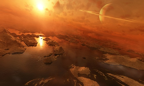 Mặt trăng Titan của sao Thổ có thể cho phép sự sống phát triển. Ảnh minh họa: Wordpress