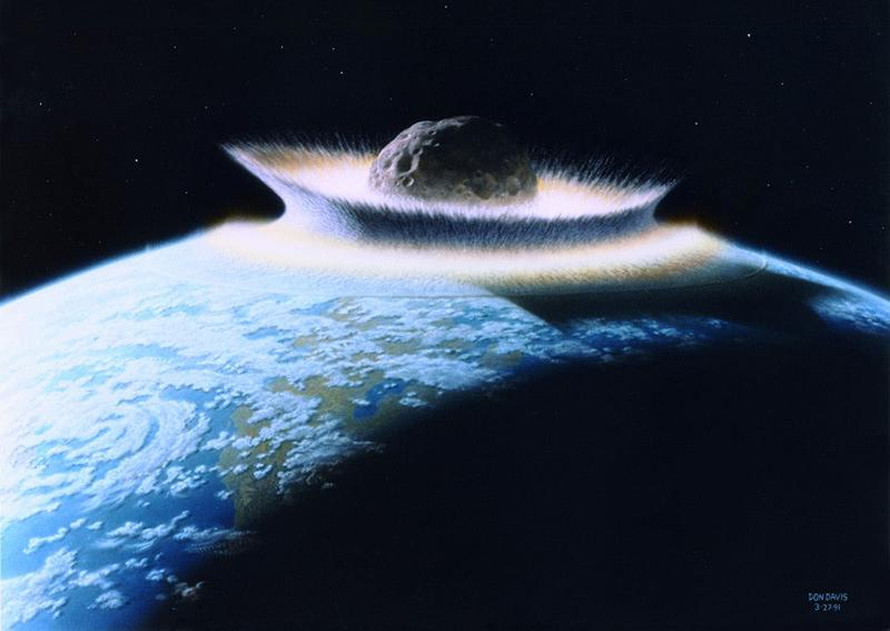 Hình ảnh mô phỏng cảnh một tiểu hành tinh đâm xuống Trái Đất. Ảnh: Ibtimes