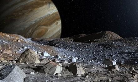 Đồ họa mô phỏng bề mặt băng đá của Europa. Ảnh: NASA.