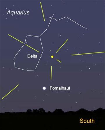 Người xem nên hướng về tâm điểm của trận mưa sao băng là chòm sao Aquarius. Ảnh: Universetoday.