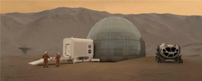 NASA vừa công bố một thiết kế về một ngôi nhà băng được bao phủ bởi một mái vòm bằng hơi để những phi hành gia sinh sống và làm việc bên trong đó. Ngôi nhà sẽ bảo vệ những người du hành khỏi nhiệt độ khắc nghiệt và bức xạ năng lượng cao.