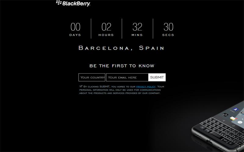 Trang web của Blackberry thông báo về thời gian ra mắt sản phẩm mới. Ảnh chụp lúc 22h ngày 25/2/2017, giờ Việt Nam.