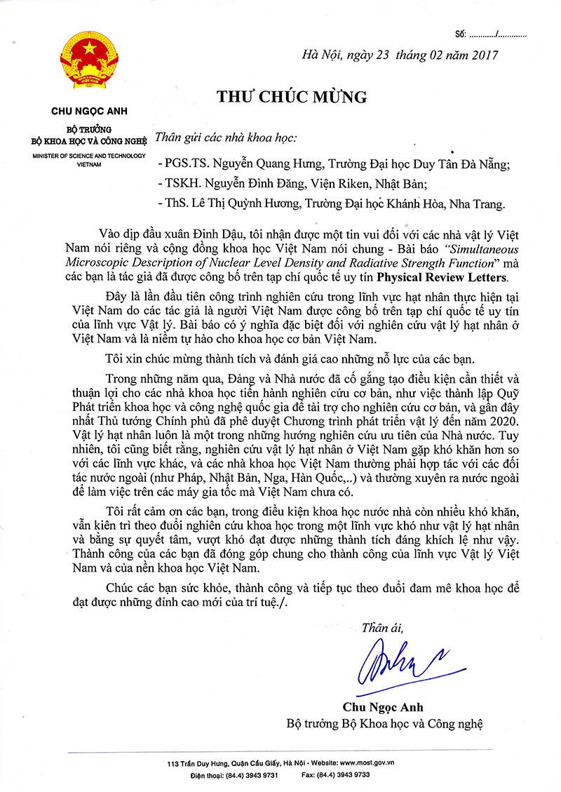 Thư Bộ trưởng Chu Ngọc Anh gửi chúc mừng các nhà khoa học.