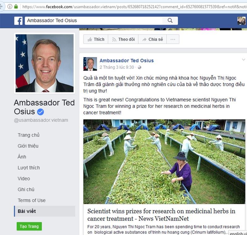 Đại sứ Ted Osiu dành lời khen cho nhà khoa học của Việt Nam trên trang cá nhân của mình.