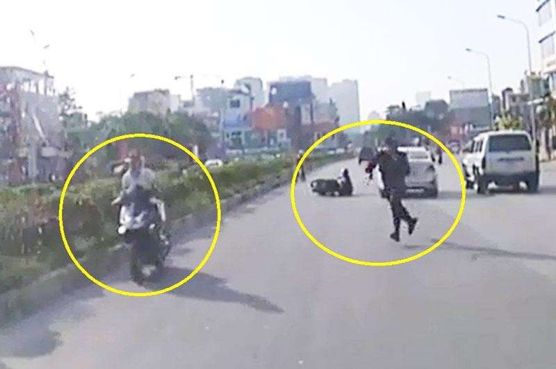Bị công an đuổi theo, cô gái vẫn bỏ chạy sau khi gây tai nạn.