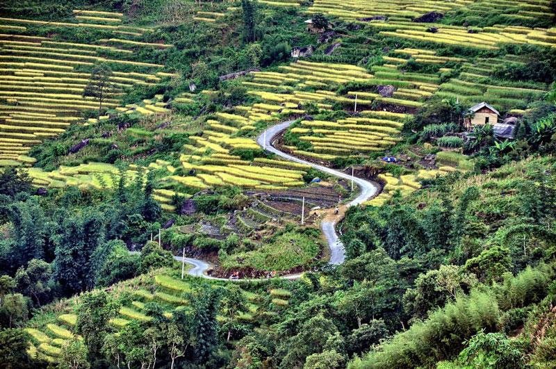 Xã có địa hình phức tạp, bị chia cắt bởi các dãy núi cao. Ảnh: Che Trung Hieu.