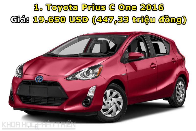 1. Toyota Prius C One 2016.
