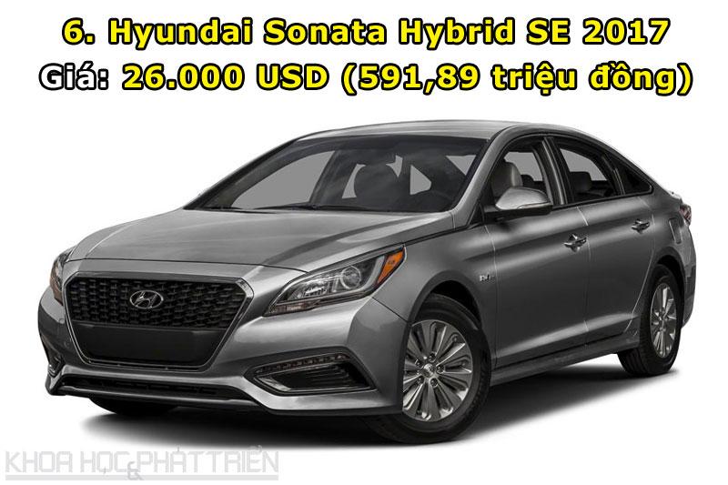 6. Hyundai Sonata Hybrid SE 2017.