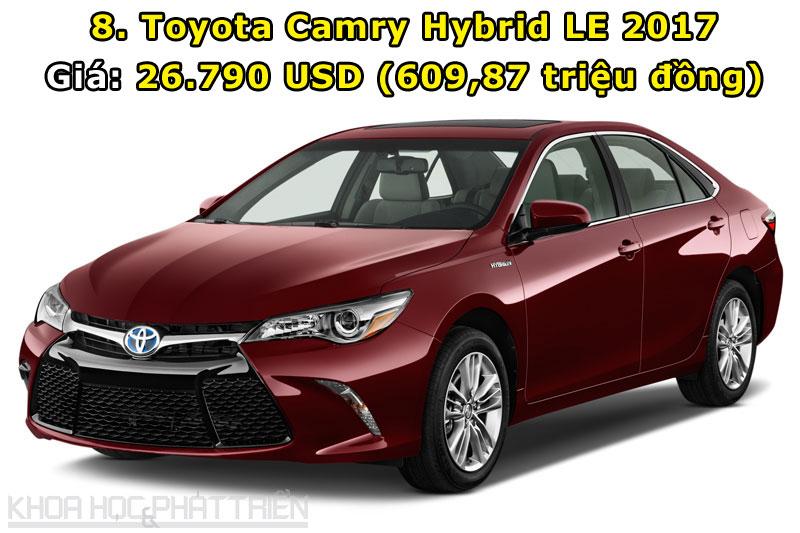 8. Toyota Camry Hybrid LE 2017.