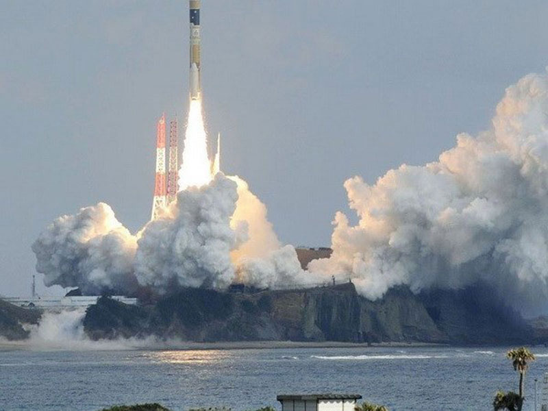 Tên lửa đẩy H-2A mang theo vệ tinh IGS Radar-5 tại Trung tâm Vũ trụ Tanegashima. (Nguồn: Kyodo).