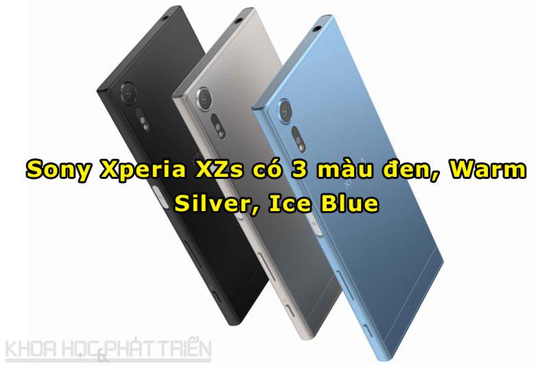 3 màu sắc của Sony Xperia XZs gồm đen, bạc ánh vàng và xanh ánh bạc.