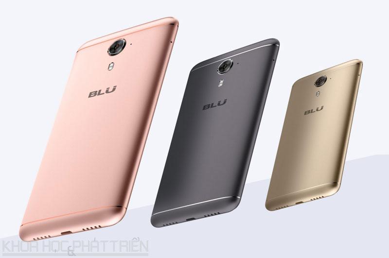 BLU Life One X2 Mini có 3 tuỳ chọn về màu sắc là vàng, vàng hồng và xám.