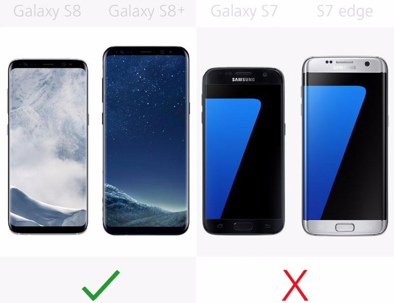 Galaxy S8, Galaxy S8 Plus có tính năng cảm biến võng mạc, còn Galaxy S7, Galaxy S7 Edge thì không.