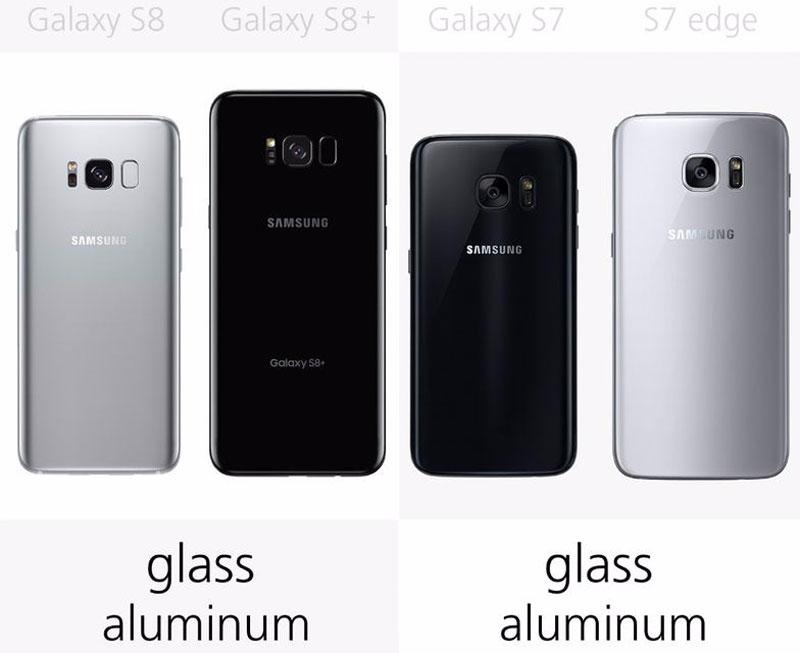Samsung Galaxy S8, Galaxy S8 Plus, Galaxy S7, Galaxy S7 Edge đều sử dụng chất liệu nhôm và kính.