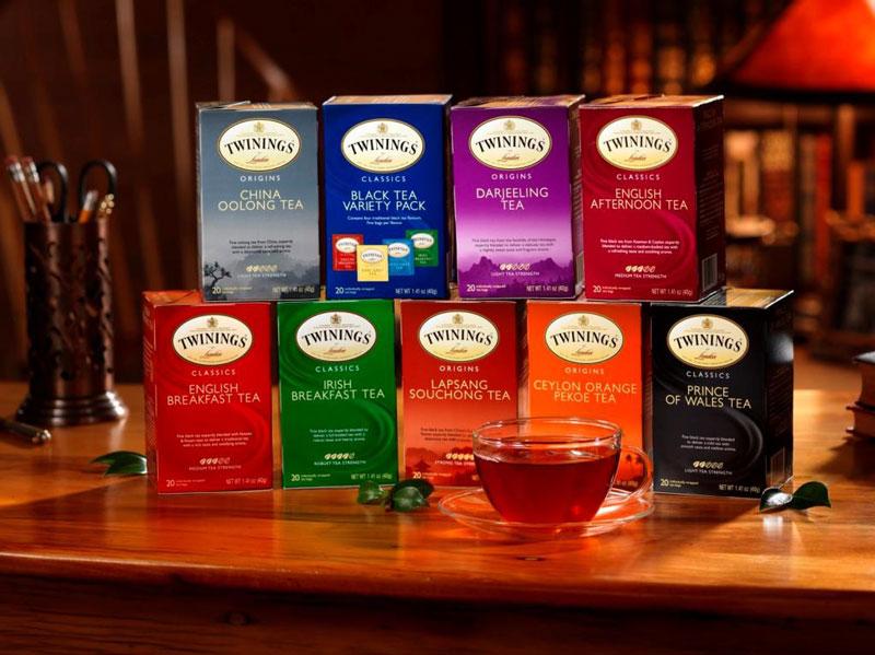 1. Twinings. Thương hiệu trà của Anh được thành lập năm 1706. Đây cũng là nhãn hiệu trà lâu đời nhất thế giới. Các sản phẩm của Twinings đa dang về mẫu mã lẫn sản phẩm.