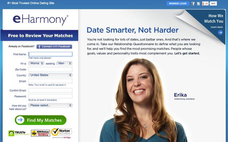 5. eHarmony - điểm đánh giá: 8,8.