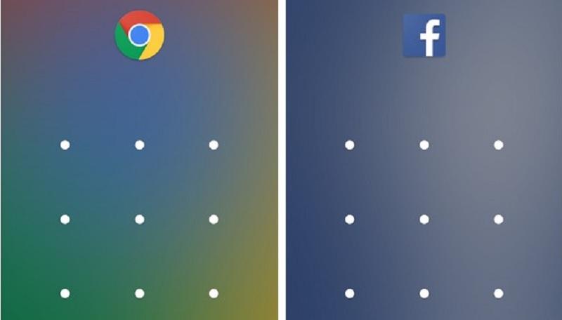 Kích hoạt ứng dụng Facebook và Chrome đã được bảo vệ đòi hỏi cần phải có mật khẩu để sử dụng.