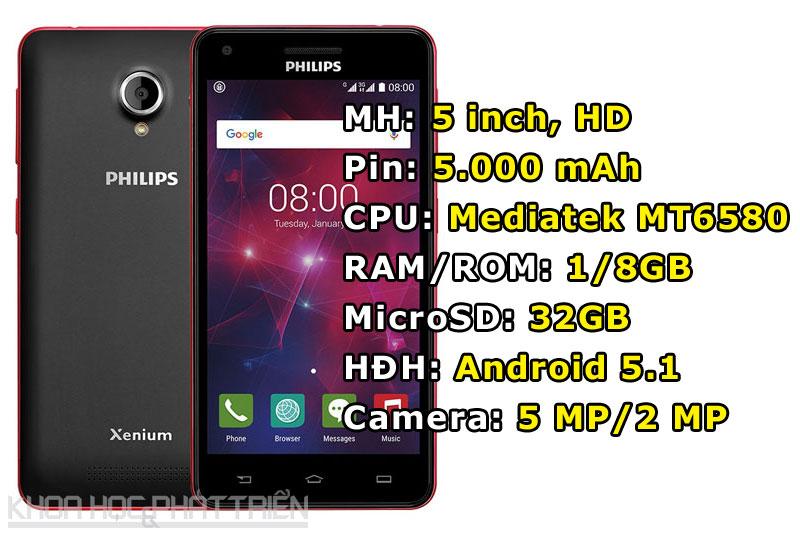Philips V377 (2,19 triệu đồng) - pin 5.000 mAh.
