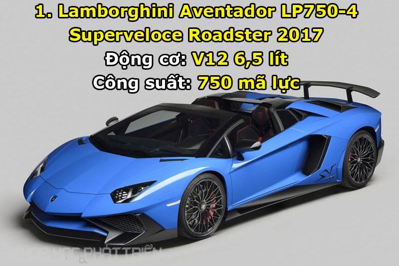Top 10 xe mui trần mạnh nhất thế giới. Với công suất tối đa lên tới 750 mã lực, Lamborghini Aventador LP750-4 Superveloce Roadster 2017 chính là siêu xe mui trần mạnh nhất trên thế giới ở thời điểm này. (CHI TIẾT)
