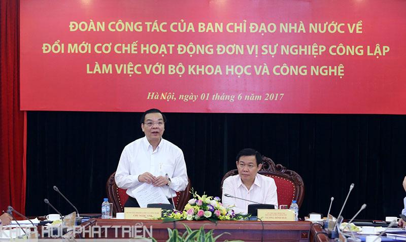 Bộ trưởng Chu Ngọc Anh phát biểu tại buổi làm việc