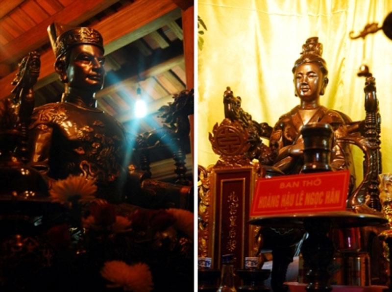 Tượng thờ vua Quang Trung và Bắc Cung Hoàng hậu Ngọc Hân tại xã Ninh Hiệp.
