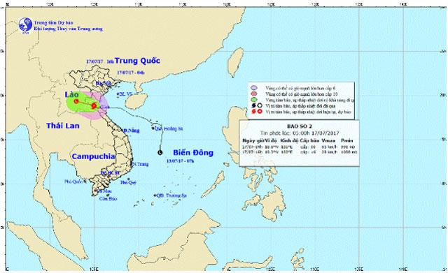 Đường đi và vị trí cơn bão số 2. Ảnh: NCHMF.