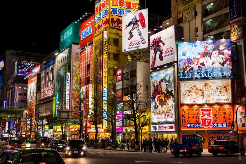 9. Khu phố điện tử Akihabara. Ngay khi Chiến tranh thế giới thứ hai kết thúc là lúc nó trở thành một trung tâm mua sắm lớn nổi tiếng với các mặt hàng điện tử gia dụng và thị trường chợ đen thời hậu chiến. Ngày nay, Akihabara được nhiều người xem là một trung tăm văn hóa otaku và khu mua sắm các hàng hóa liên quan đến video game (gồm visual novel), anime, manga, light novel và máy vi tính. Hình ảnh anime và manga nổi tiếng được trưng bày nổi bật trên nhiều cửa hàng trong khu vực và rất nhiều quán cà phê hầu gái mở ra tại đây.