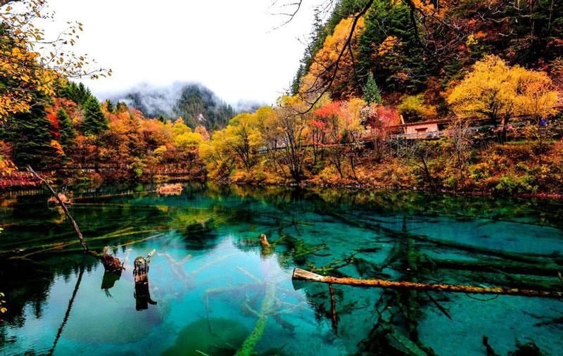 9. Khu thắng cảnh Cửu Trại Câu. Khu bảo tồn thiên nhiên, vườn quốc gia thuộc châu tự trị dân tộc Khương, dân tộc Tạng A Bá, miền Bắc tỉnh Tứ Xuyên, Trung Quốc. Khu phong cảnh Cửu Trại Câu được hình thành trên dãy núi đá vôi trầm tích thuộc các cạnh của cao nguyên Tây Tạng, nổi tiếng nhờ hệ thống các hồ đa sắc và các thác nước nhiều tầng và các đỉnh núi phủ đầy tuyết trắng được UNESCO công nhận là di sản thiên nhiên thế giới vào năm 1992, khu dự trữ sinh quyển thế giới vào năm 1997.