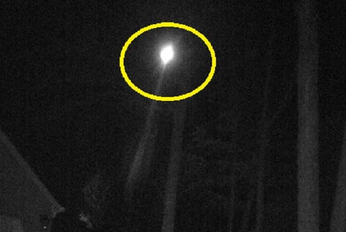 Vật thể cứ lơ lửng, phát ra ánh sáng mãnh liệt trên vùng trời gần ngọn cây khu rừng. Vật thể bí ẩn tồn tại khoảng năm phút sau đó tăng tốc di chuyển mất hút xuống đường chân trời. Nguồn ảnh: ufosightingsdaily.