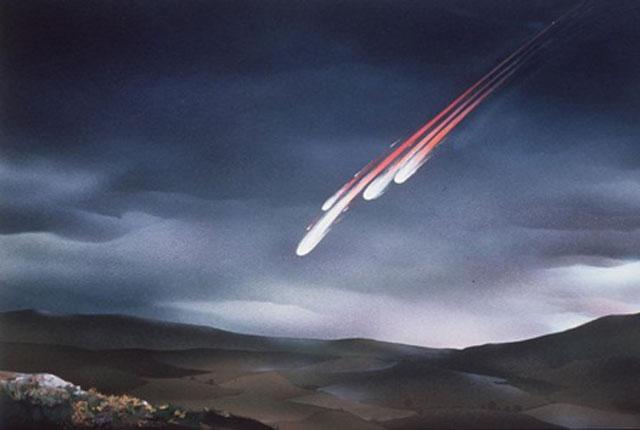Tiểu hành tinh lớn va chạm với Trái Đất có thể đẩy nhiều vật chất vào không khí, ngăn chặn ánh sáng Mặt Trời. Ảnh: Sun.