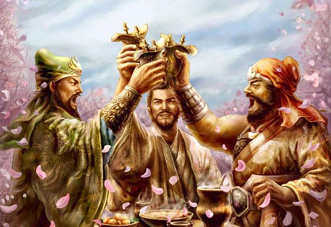 Lưu Bị, Quan Vũ và Trương Phi kết nghĩa huynh đệ tại vườn đào. Ảnh minh họa.