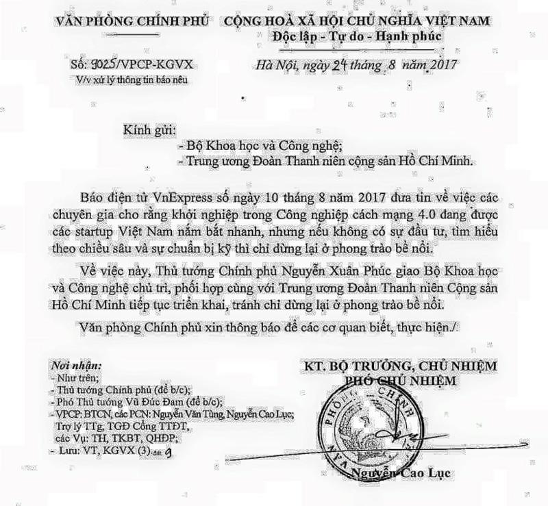 Văn bản chỉ đạo của Thủ tướng Nguyễn Xuân Phúc.