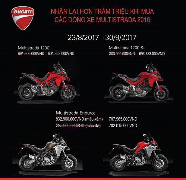 Ducati Multistrada giảm hơn 100 triệu đồng trong tháng Ngâu. Ducati Việt Nam hiện đang áp dụng chương trình khuyến mãi tập trung vào dòng mô tô cao cấp Multistrada với mức giảm giá hơn trăm triệu khi đăng ký mua xe đến hết tháng 9/2017. (CHI TIẾT)