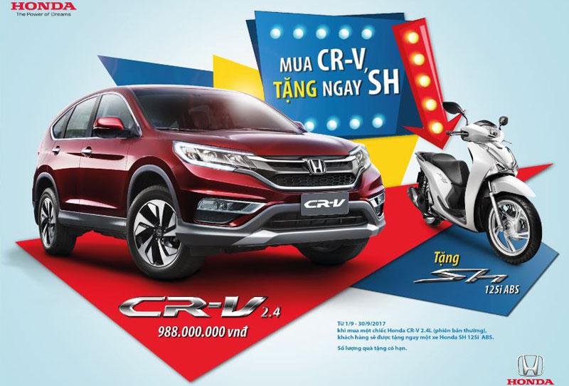 Honda khuyến mãi cực kỳ hấp dẫn cho khách hàng mua xe CR-V. Từ nay đến hết ngày 30/9, Honda Việt Nam triển khai chương trình khuyến mãi đặc biệt
