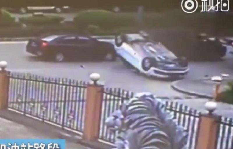 Xe ben gây tai nạn hy hữu cho ôtô 4 chỗ. Đang lưu thông trên đường, cửa thùng sau của xe ben móc vào cửa sổ trời của ôtô khiến xe này lật ngửa. (CHI TIẾT)