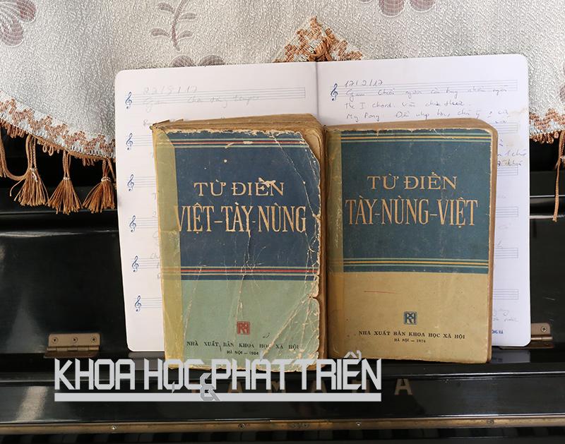 Hai cuốn từ điển Tày, Nùng - Việt và Việt - Tày, Nùng do PGS Hoàng Văn Ma chủ trì biên soạn. Ảnh: Ngọc Vũ