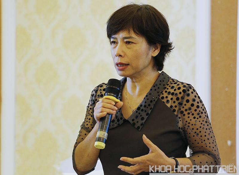 Bà Phạm Thu Giang phát biểu tại hội thảo. Ảnh: Huy Hùng