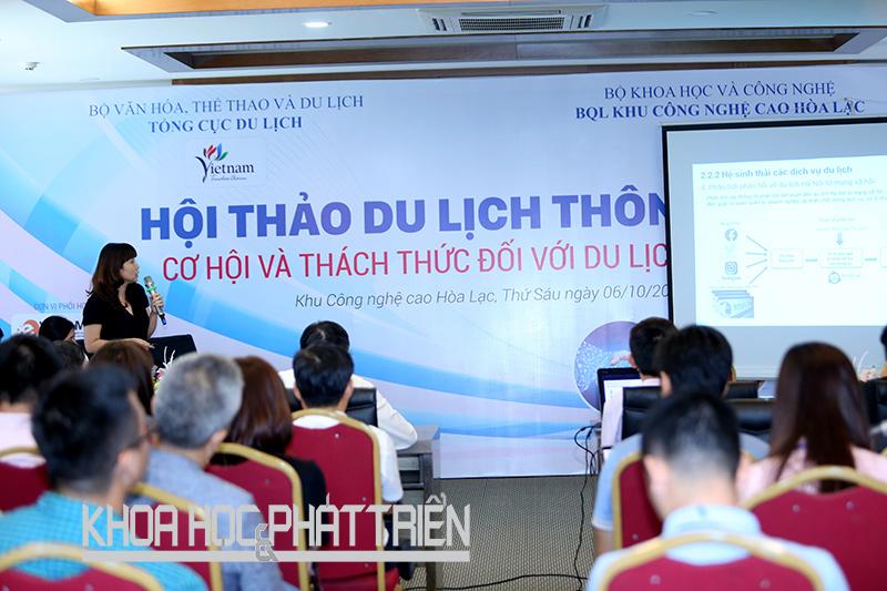 Toàn cảnh hội thảo về du lịch thông minh tại Khu công nghệ cao Hòa Lạc. Ảnh: Loan Lê