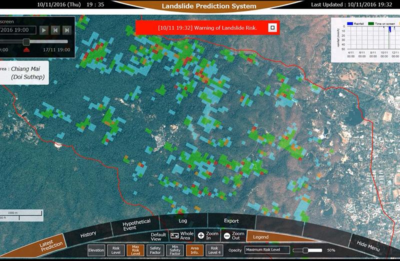 Hệ thống dự báo sạt lở đất của NEC được thử nghiệm tại Chiang Mai. Ảnh: NEC