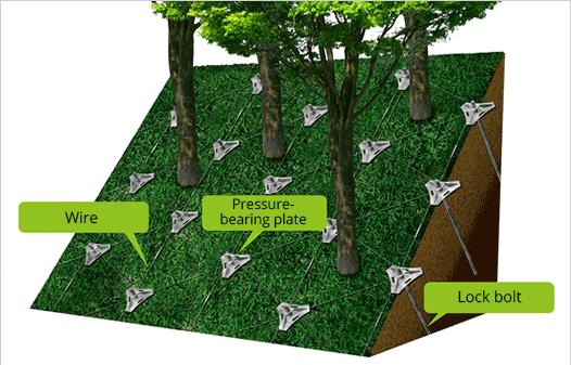 Sơ đồ thiết kế phương pháp chống sạt trượt đất Non Frame với hệ thống dây thép, tấm bịt cố định và cọc chốt. Ảnh: Non-Frame Research Institute