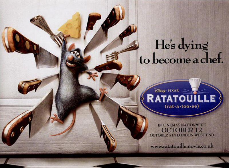 2. Chuột đầu bếp. Là một bộ phim hoạt hình Mỹ vẽ bằng máy tính do xưởng phim Pixar sản xuất và hãng Walt Disney Pictures phát hành. Đây là bộ phim thứ 8 do Pixar sản xuất và Brad Bird làm đạo diễn, người thay thế Jan Pinkava vào năm 2005. Tựa phim liên quan tới một món ăn Pháp (ratatouille) được phục vụ trong phim, và là một kiểu chơi chữ, ẩn dụ về giống loài của nhân vật chính. Nội dung nói về Remy, một chú chuột ước mơ trở thành một đầu bếp và cố gắng thực hiện mục tiêu bằng cách hợp tác với anh chàng dọn dẹp nhà bếp của một nhà hàng ở Paris.