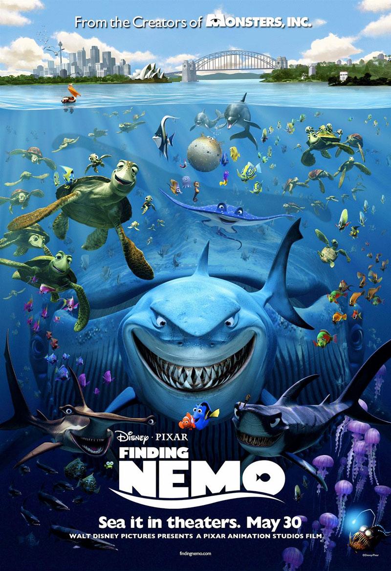 5. Đi tìm Nemo. Bộ phim hoạt hình của Mĩ được công chiếu vào năm 2003. Phim do Andrew Stanton viết kịch bản, Stanton và Lee Unkrich đạo diễn, hai hãng Walt Disney và Pixar đồng sản xuất. Phim nói về câu chuyện của chú cá hề Marlin (do Albert Brooks lồng tiếng) cùng với một con cá khác là Dory (do Ellen DeGeneres lồng tiếng) đi tìm con trai của anh là Nemo (do Alexander Gould lồng tiếng). Trên đường đi anh hiểu ra một điều là con trai của anh có thể tự chăm sóc lấy bản thân.