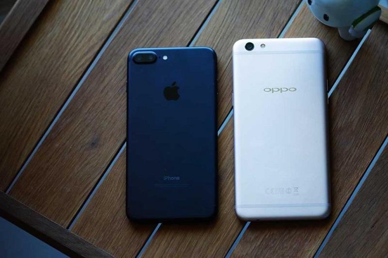 Oppo F3 Plus đọ dáng cùng iPhone 7 Plus.